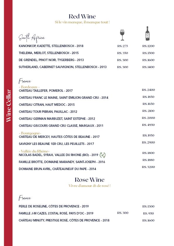 Menu 21 Wine List